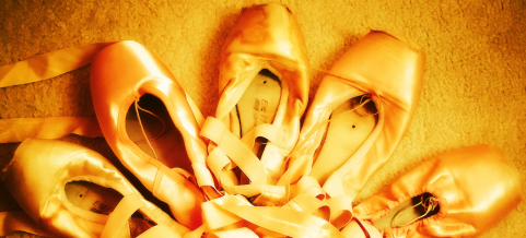 Pointe shoe flower yellow