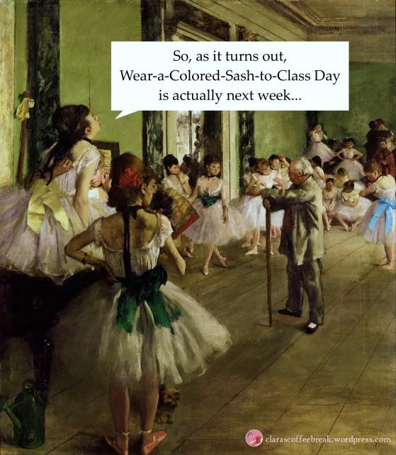 Wear a Colored Sash to Class Day Clara's Coffee Break Meme